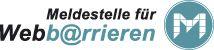 Logo der Meldestelle für Webbarrieren (Verweis öffnet ein neues Fenster: http://www.webbarrieren.wob11.de)
